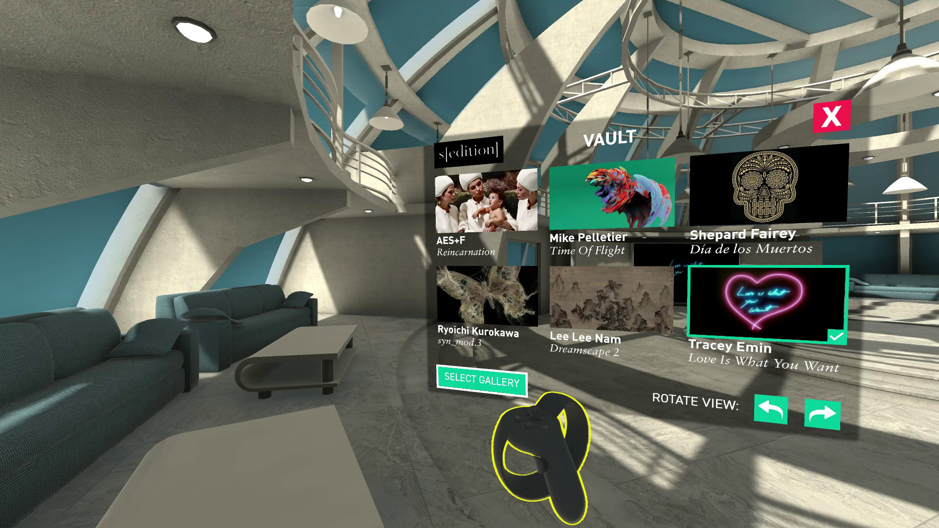 Screenshot from Sedition VR showroom environment showing navigation UI